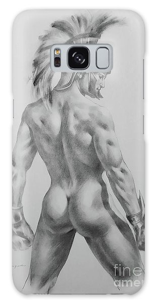 Original Drawing Sketch Charcoal Chalk Male Nude Gay Interst Man Art Pencil On Paper -0040 Galaxy Case