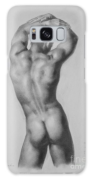 Original Drawing Sketch Charcoal Gay Interest Man Male Nude Art Pencil On Paper-0047 Galaxy Case