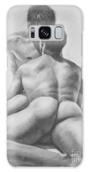 Original Drawing Sketch Charcoal Male Nude Gay Interest Man Art  Pencil On Paper -0028 Galaxy Case