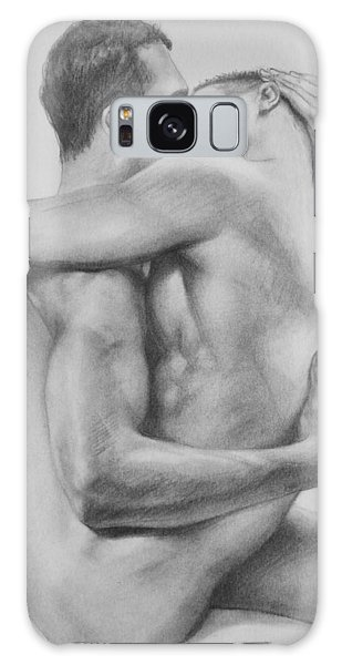 Original Drawing Sketch Charcoal   Male Nude Gay Interest Man Art Pencil On Paper -0034 Galaxy Case