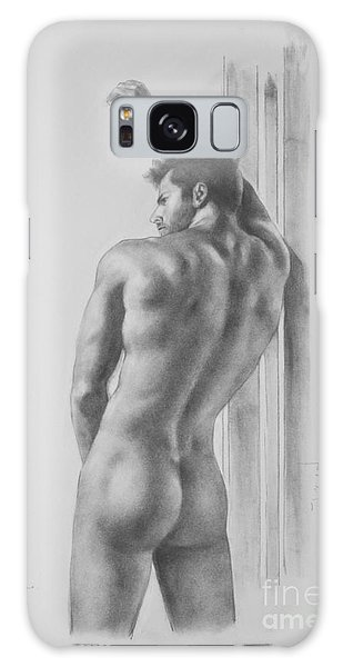 Original Drawing Sketch Charcoal Male Nude Gay Interest Man Art Pencil On Paper -0039 Galaxy Case