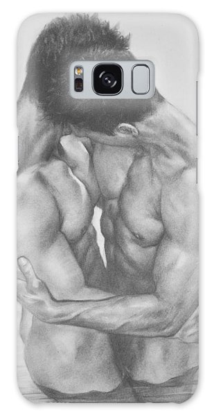 Original Drawing Sketch Charcoal  Male Nude Gay Interest Man Art Pencil On Paper -0041 Galaxy Case