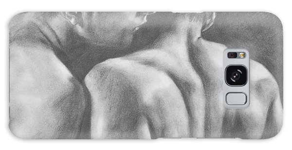 Original Drawing Sketch Charcoal Man Body  Male Nude Gay Interest Man Art Pencil On Paper -0029 Galaxy Case