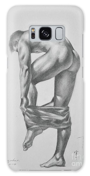 Original Drawing Sketch Charcoal Pencil Gay Interest Man Art  On Paper #11-17-14 Galaxy Case