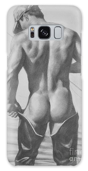 Original Drawing Sketch Charcoal  Pencil Male Nude Gay Interest Man Art Pencil On Paper -0031 Galaxy Case