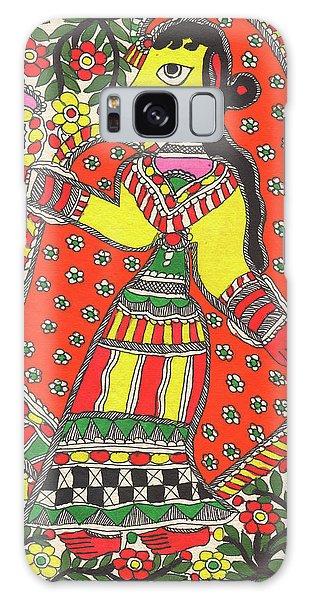 Madhubani Galaxy Case - Original Madhubani Painting Indian Village Woman Portrait Watercolor Traditional Artwork. by B K Mitra