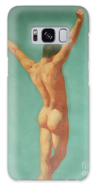 Original Male Nude Oil Painting Gay Boy Art On Linen-0022 Galaxy Case