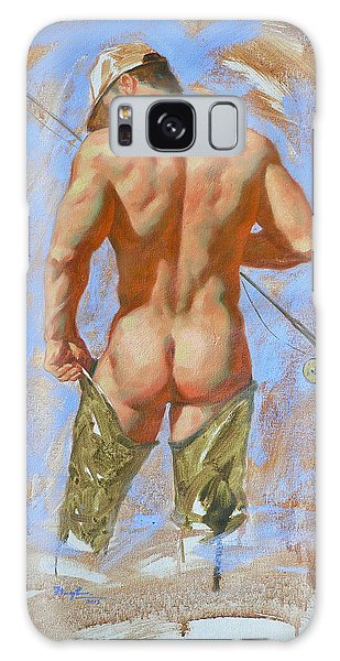 Original Oil Painting Art Male Nude Fisherman On Linen #16-2-20 Galaxy Case