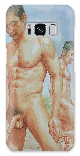 Original Watercolour Painting Art Young Men Male Nude Boys  On Paper #16-1-26-15 Galaxy Case