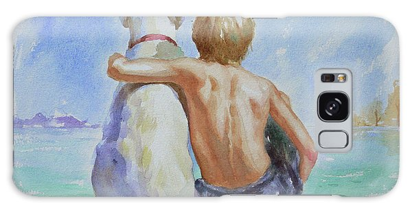 Original Watercolour Painting Nude Boy And Dog On Paper#16-11-18 Galaxy Case