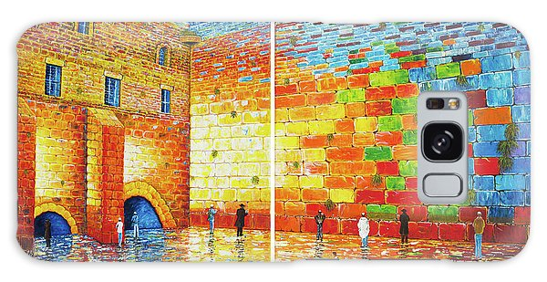 Galaxy Case featuring the painting Original Western Wall Jerusalem Wailing Wall Acrylic 2 Panels by Georgeta Blanaru