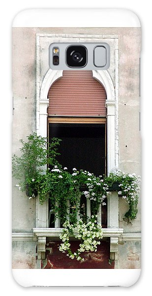 Ornate Window With Red Shutters Galaxy Case by Donna Corless