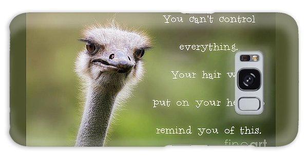 Ostrich Galaxy Case - Ostrich Having A Bad Hair Day by Jane Rix
