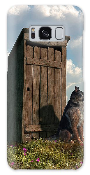 Outhouse Guardian - German Shepherd Version Galaxy Case by Daniel Eskridge