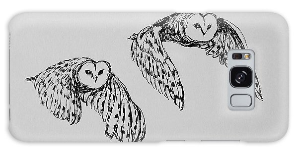Owls In Flight Galaxy Case by Victoria Lakes
