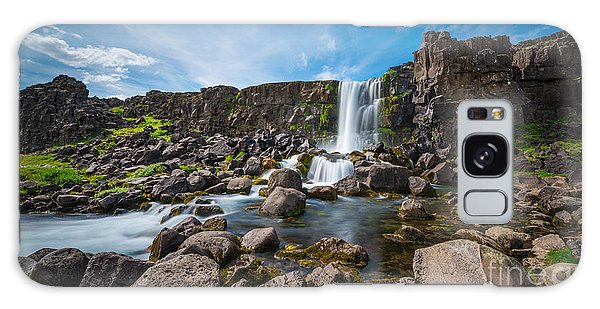 Oxararfoss Waterfall  Galaxy Case