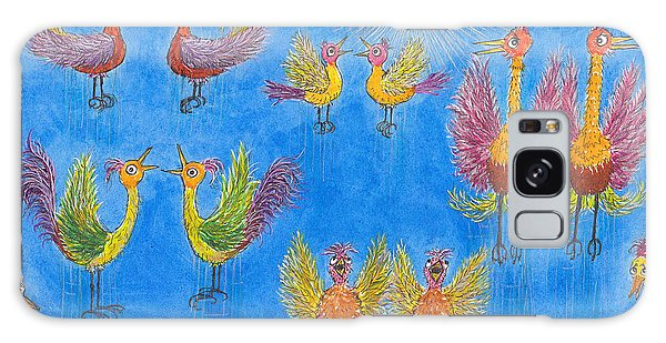 p11 Crazy Bouncing Birds Galaxy Case by Charles Cater
