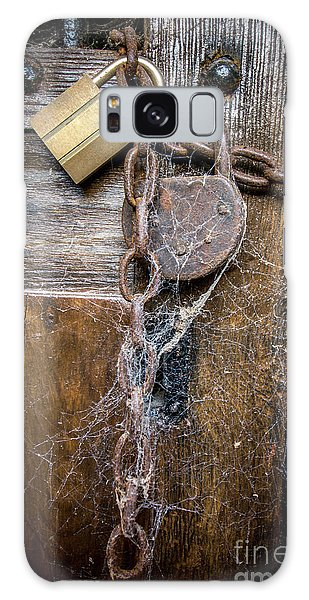 Rusty Chain Galaxy Case - Padlock And Wooden Door by Bernard Jaubert