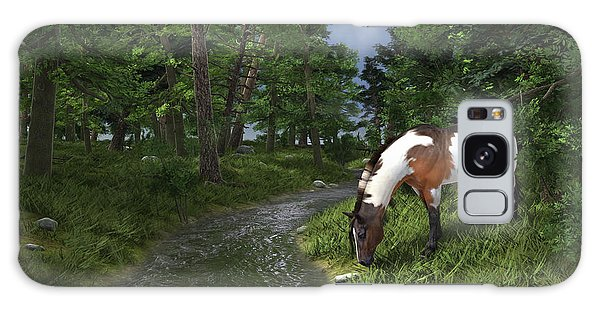 Paint Horse By The Forest Stream Galaxy Case by Jayne Wilson