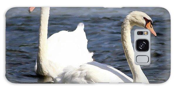 Painted Mute Swans Of Lake Junaluska North Carolina II Galaxy Case