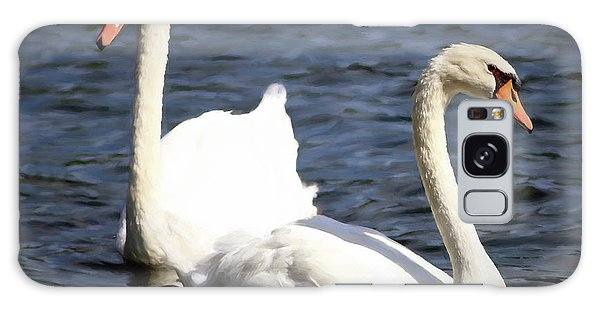 Painted Mute Swans Of Lake Junaluska North Carolina II Galaxy Case