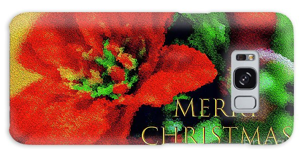 Painted Poinsettia Merry Christmas Galaxy Case by Sandy Moulder