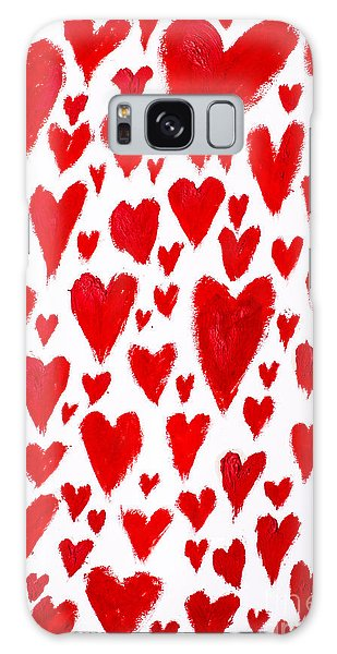 Wall Paper Galaxy Case - Painted Red Hearts by Jorgo Photography - Wall Art Gallery