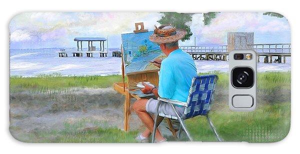Painter On The Beach Galaxy Case