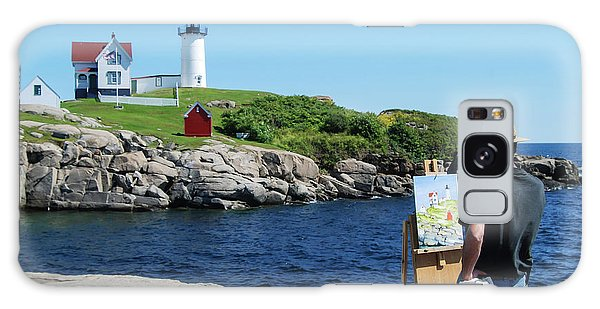 Painting Nubble Lighthouse Galaxy Case