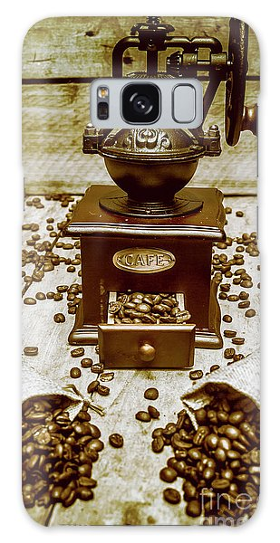 Cafe Galaxy Case - Pair Coffee Bean Bags Spilled In Front Of Grinder by Jorgo Photography - Wall Art Gallery