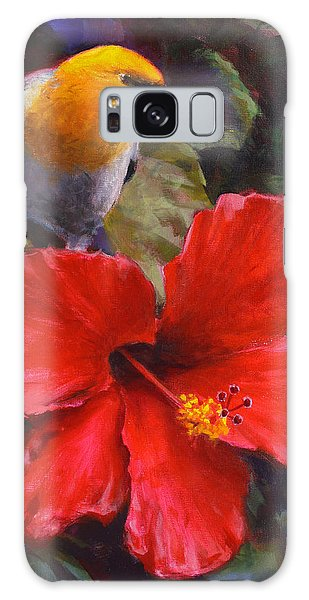 Palila And Hibiscus - Hawaiian Painting Galaxy Case