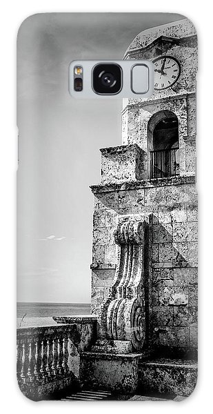 Palm Beach Clock Tower In Black And White Galaxy Case