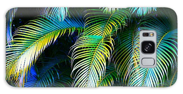 Palm Leaves In Blue Galaxy Case by Karon Melillo DeVega