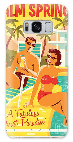 Palm Springs Retro Travel Poster Galaxy S8 Case