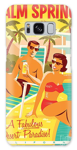 Desert Galaxy S8 Case - Palm Springs Retro Travel Poster by Jim Zahniser