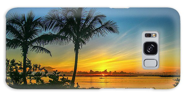 Palm Tree And Boat Sunrise Galaxy Case
