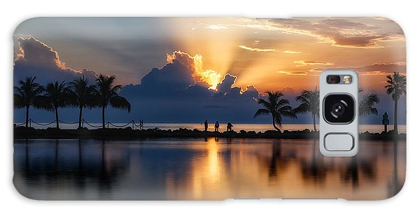 Palm Tree Framed Sunrise Galaxy Case by Andres Leon