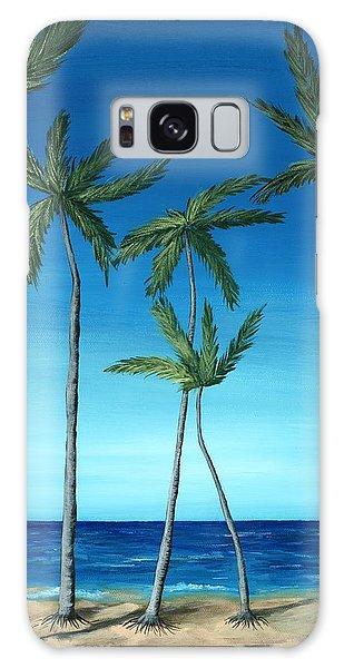Palm Trees On Blue Galaxy Case by Anastasiya Malakhova