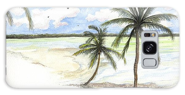 Palm Trees On The Beach Galaxy Case by Darren Cannell