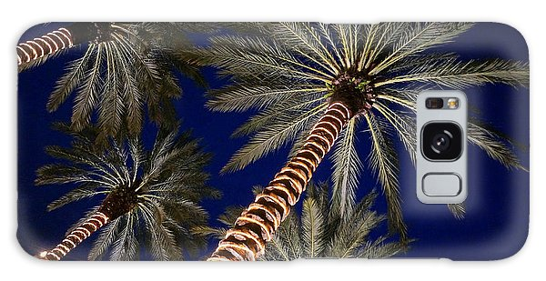Palm Trees Wrapped In Lights Galaxy Case