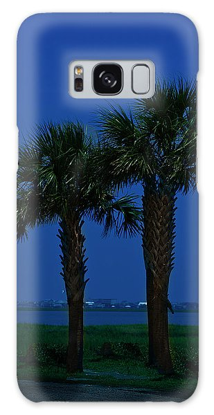 Galaxy Case featuring the photograph Palms And Moon At Morse Park by Bill Barber