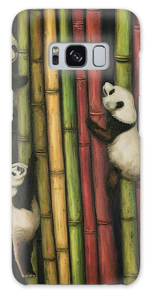 Pandas Climbing Bamboo Galaxy Case by Leah Saulnier The Painting Maniac