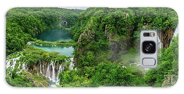 Panorama Of Turquoise Lakes And Waterfalls - A Dramatic View, Plitivice Lakes National Park Croatia Galaxy Case