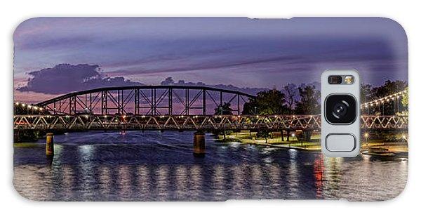 Panorama Of Waco Suspension Bridge Over The Brazos River At Twilight - Waco Central Texas Galaxy Case