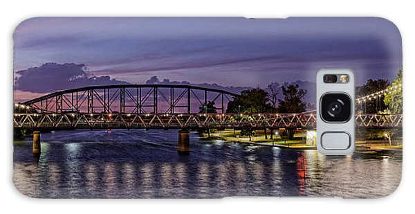 Panorama Of Waco Suspension Bridge Over The Brazos River At Twilight - Waco Central Texas Galaxy Case
