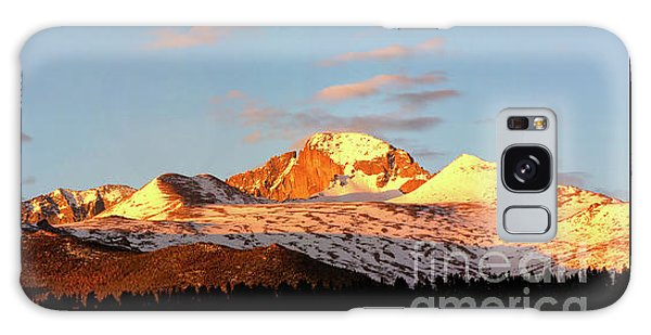 Panorama View Of Longs Peak At Sunrise Galaxy Case by Ronda Kimbrow