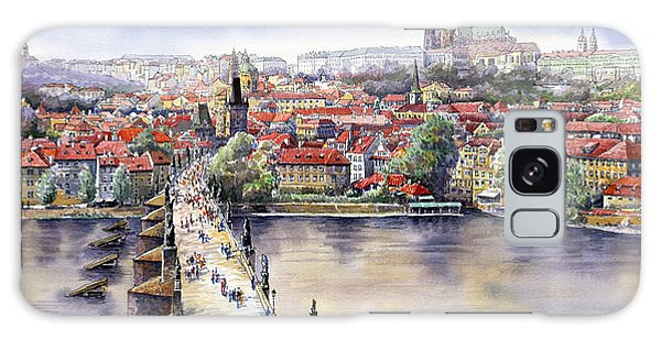 Watercolour Galaxy Case - Panorama With Vltava River Charles Bridge And Prague Castle St Vit by Yuriy Shevchuk