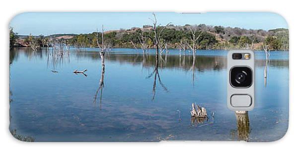 Panoramic View Of Large Lake With Grass On The Shore Galaxy Case
