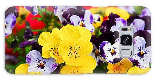 Pansies And Red Cart Galaxy Case