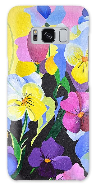 Pansies Galaxy Case by Donna Blossom